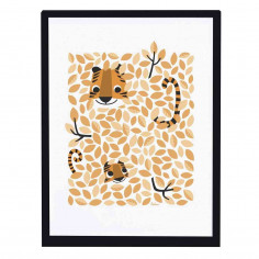 Tableau enfant Affiche encadrée cache cache dans les feuillages tigres Lilipinso