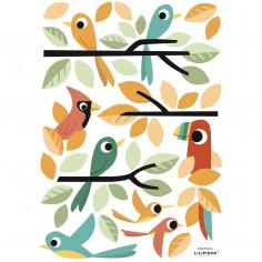 Stickers enfant oiseaux colorés Lilipinso