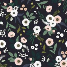 Papier peint enfant motif fleurs sur fond sombre Lilipinso