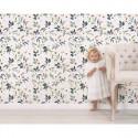 Papier peint enfant fleurie sur fond clair Lilipinso