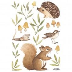Sticker chambre enfant les petits animaux de la forêt