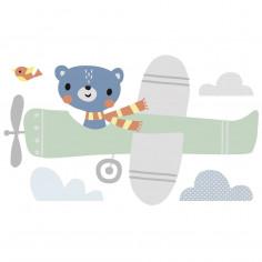 Sticker géant enfant ours aviateur