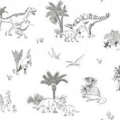 Papier peint enfant Dinosaures gris blanc