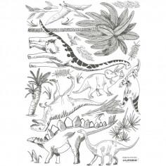 Stickers enfant Dinosaures et Végétaux gris