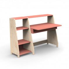 Bureau-Montessori-avec-etagere-corail