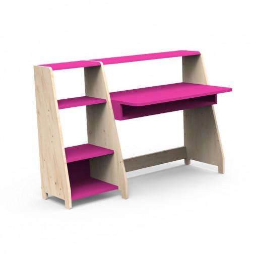 Bureau Montessori avec étagère rose ete