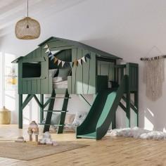 Lit-cabane-enfant-avec-toboggan
