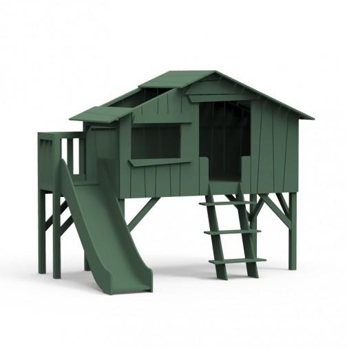 Lit-cabane-toboggan-plateforme-vert-jungle