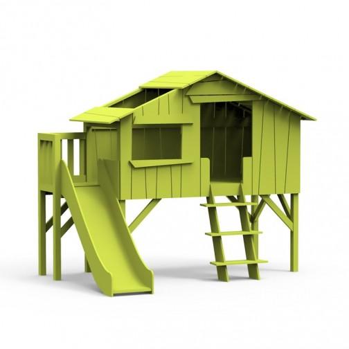 Lit-cabane-toboggan-plateforme-vert-pomme