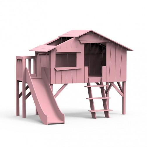 Lit-cabane-toboggan-plateforme-rose-tres-clair