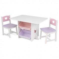 Table de jeu enfant et chaises motifs coeurs