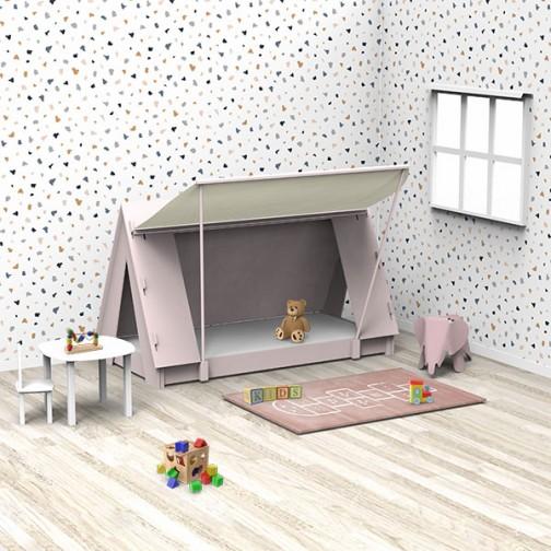 Lit Tipi rose chambre montessori