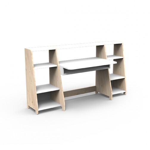 Bureau-montessori-avec-étagères-blanc