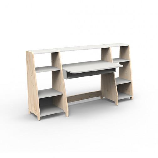 Bureau-montessori-avec-étagères-gris-perle
