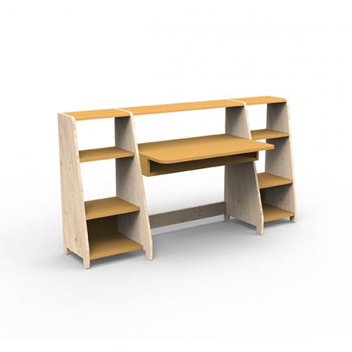 Bureau-montessori-avec-étagères-ocre
