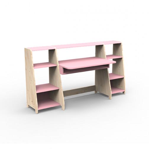 Bureau-montessori-avec-étagères-rose-clair