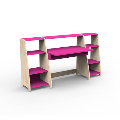 Bureau-montessori-avec-étagères-rose-été