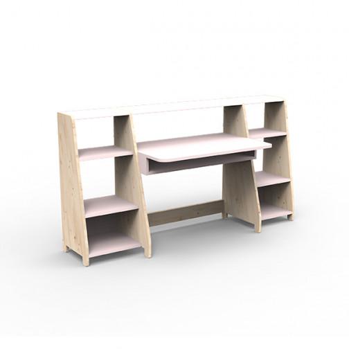 Bureau-montessori-avec-étagères-rose-poudre