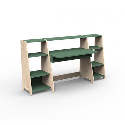 Bureau-montessori-avec-étagères-vert-jungle