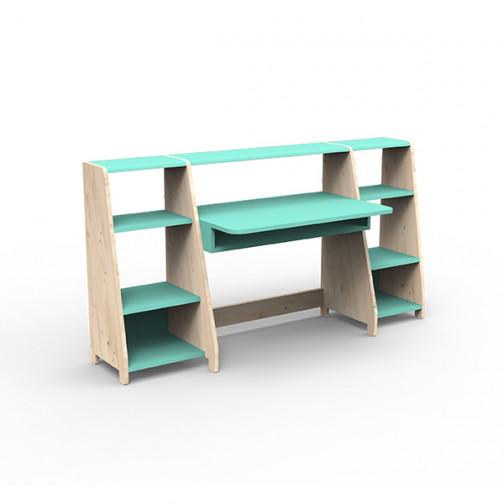 Bureau-montessori-avec-étagères-vert-leger