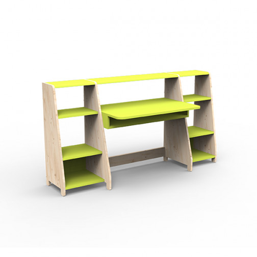 Bureau-montessori-avec-étagères-vert-pomme