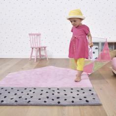 tapis rose et gris chambre fille
