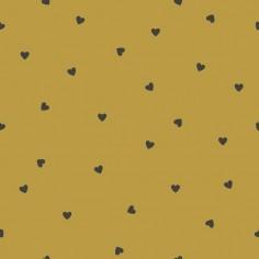 Papier Peint couleur MOUTARDE avec coeur