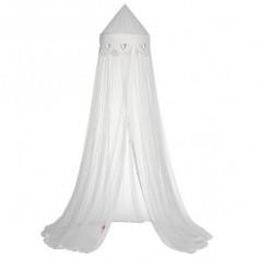 Ciel de lit moustiquaire Blanc Coeur Argent