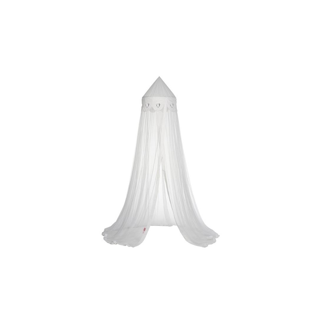 Ciel de lit moustiquaire blanc coeur argent ma chambramoi - Ciel de lit moustiquaire ...