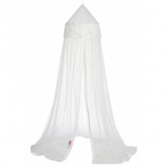 Ciel de lit moustiquaire Crochet blanc fleurs blanches