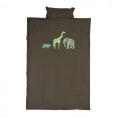 Housse de couette pour lit bébé et taie Safari