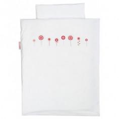 Housse de couette pour lit bébé et taie Crochet Fleurs Roses