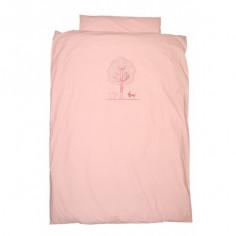 Housse de couette pour lit bébé et taie Caniche rose