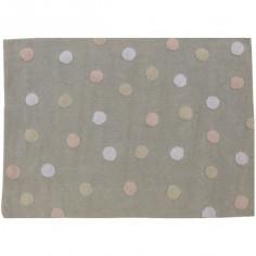 Tapis enfant lavable gris clair à pois rose et beige Topos