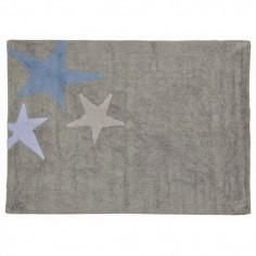 Tapis enfant lavable gris 3 étoiles bleu