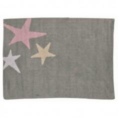 Tapis enfant lavable gris 3 étoiles roses