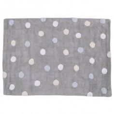 Tapis enfant lavable gris à pois bleus et beige