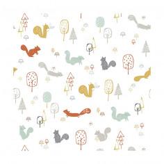 papier peint thème Woodland écureuils lilipinso