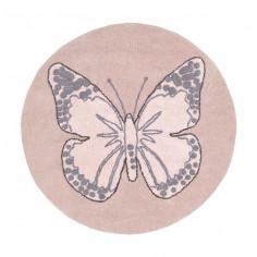 Tapis enfant lavable Papillon rose