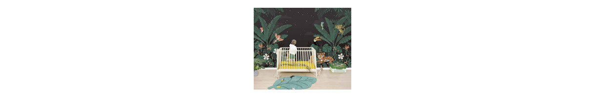 chambre enfant jungle les animaux de la savane dans la. Black Bedroom Furniture Sets. Home Design Ideas